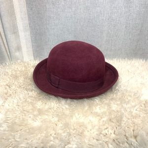 H&M MAROON CLOCHE HAT WITH RIBBON DETAIL